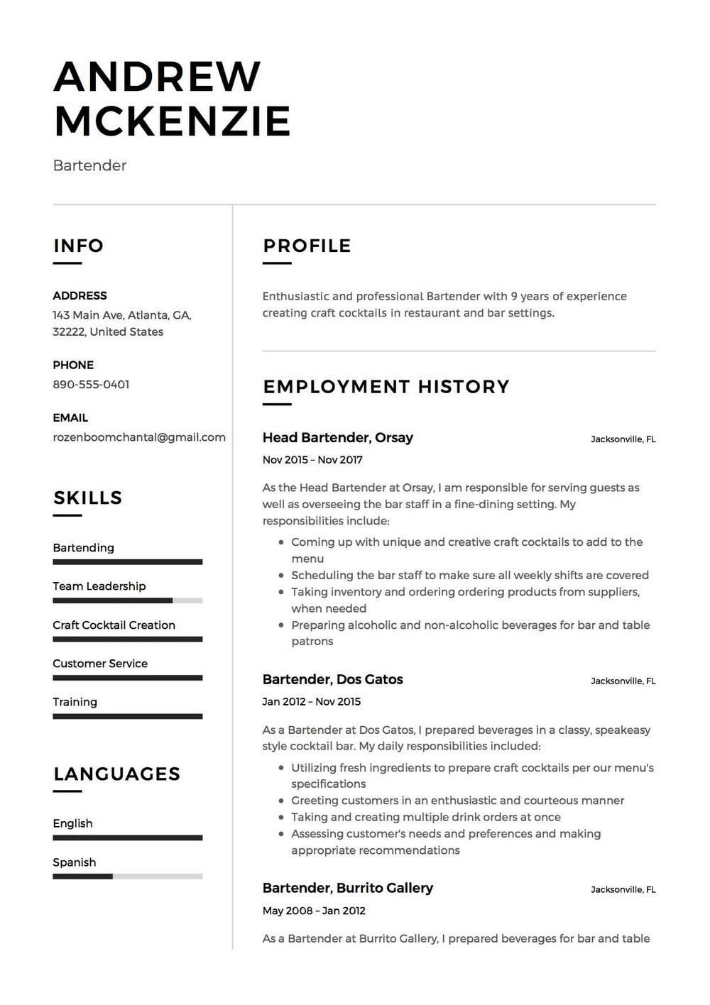 Free Bartender Resume Templates