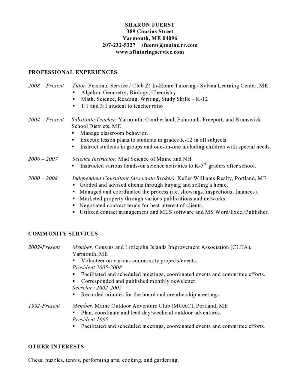 Free Combination Resume Template Word
