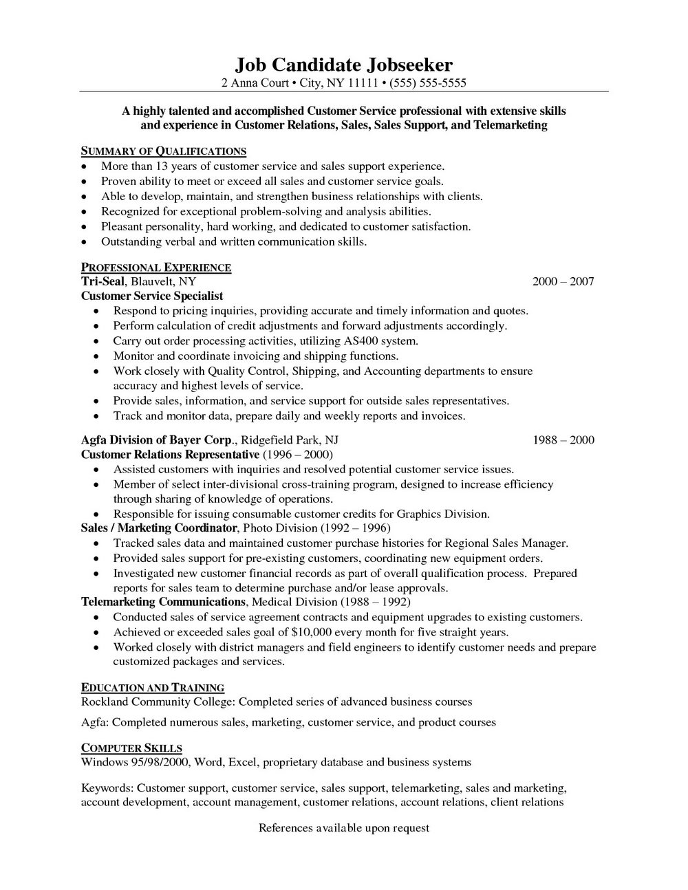Free Customer Service Resume Templates
