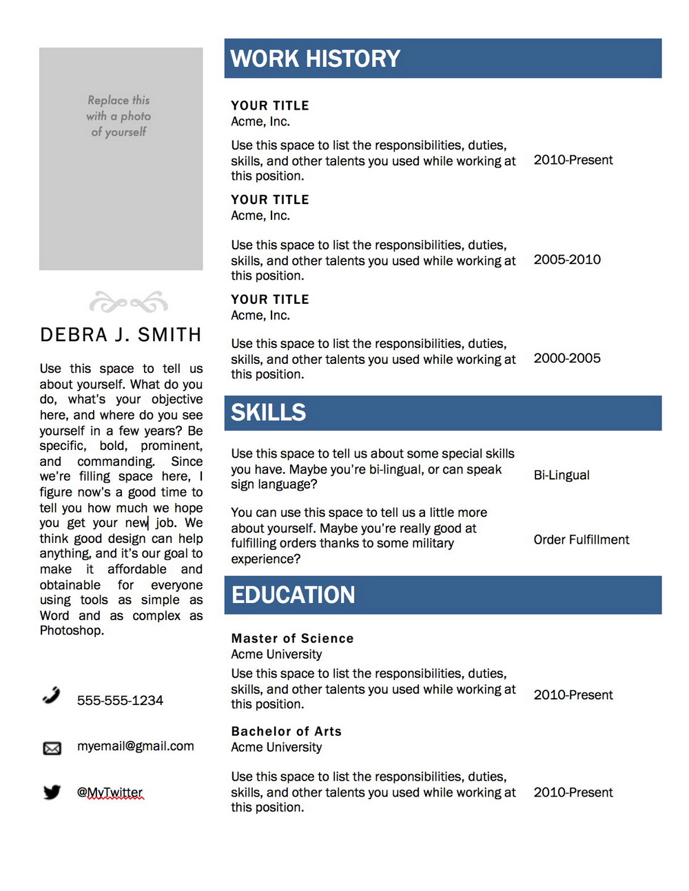 Free Downloadable Resume Templates For Microsoft Word