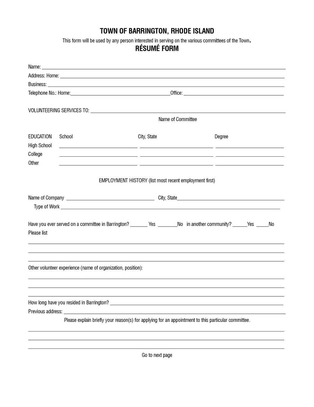 Free Resume Printable Forms