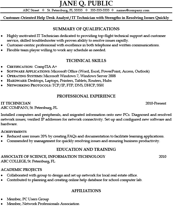 Hvac Service Technician Resume Sample
