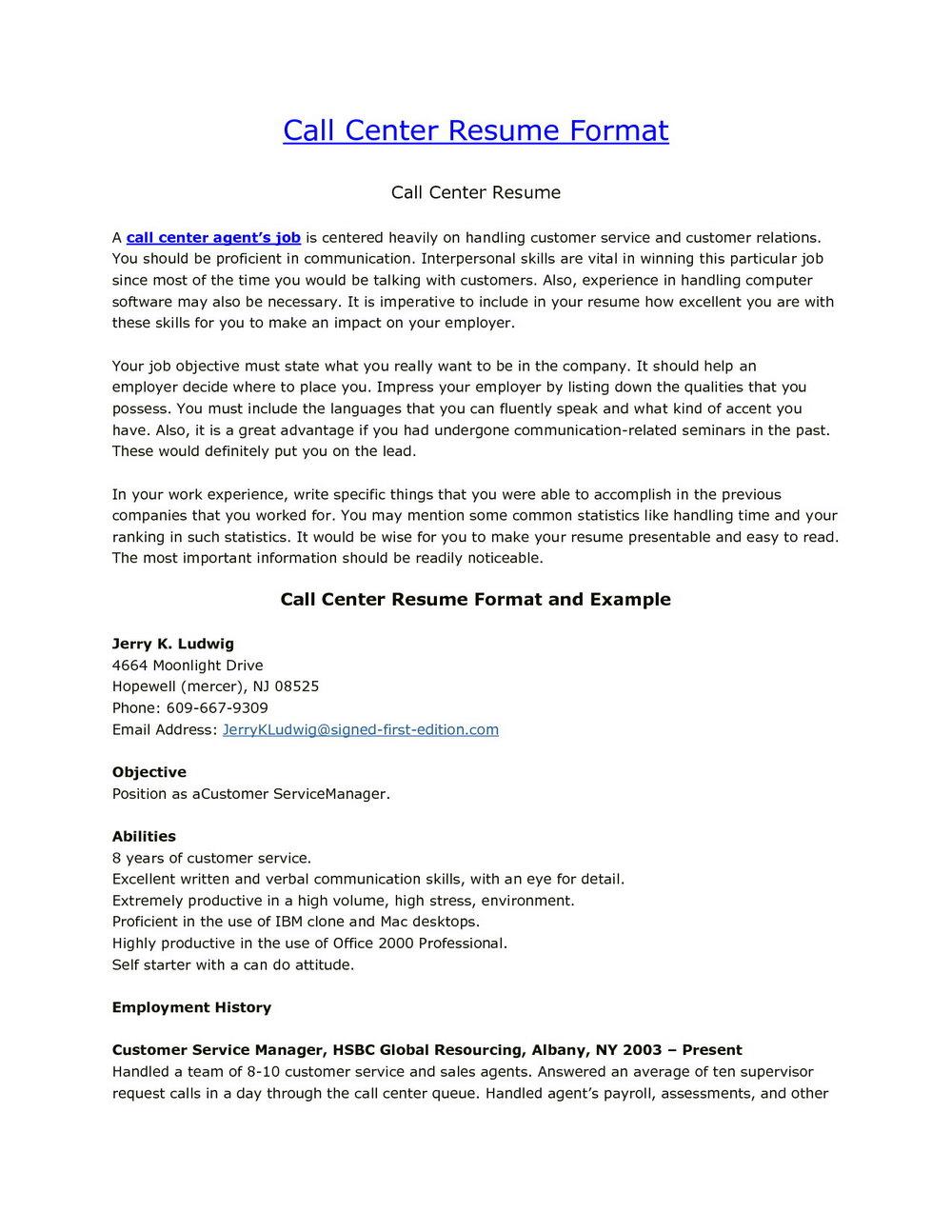 Inbound Call Center Resume