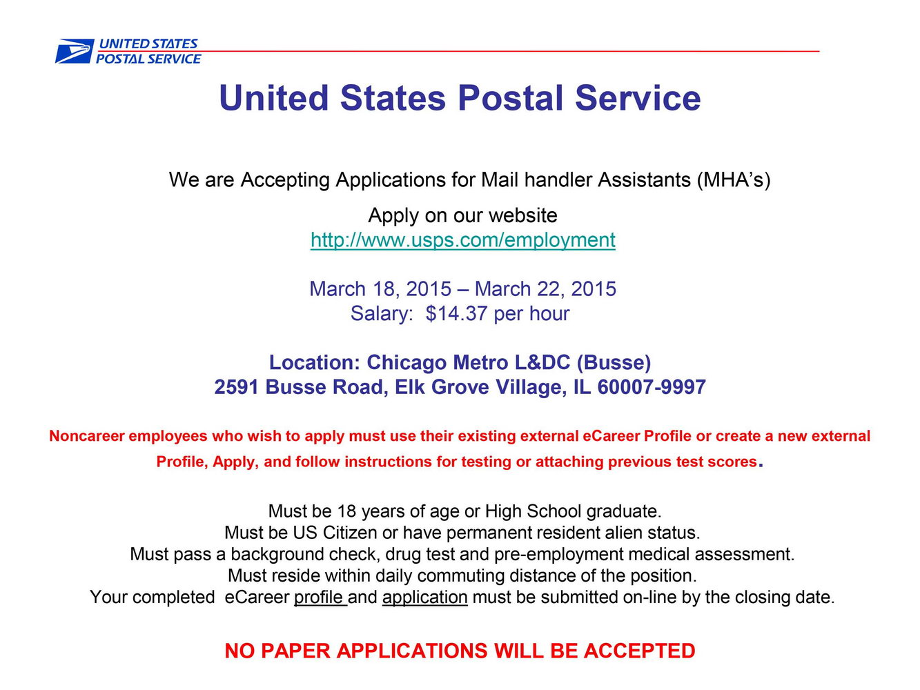 Job Application For Usps
