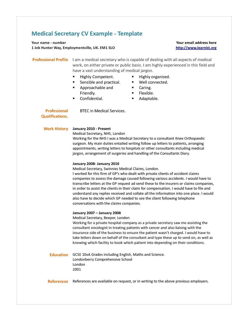 Medical Secretary Resume Template