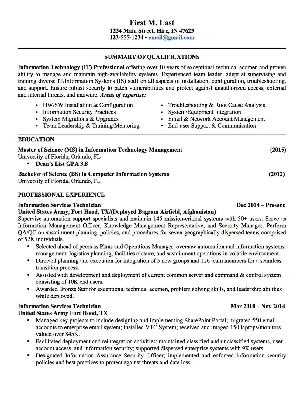 Military Resume To Civilian