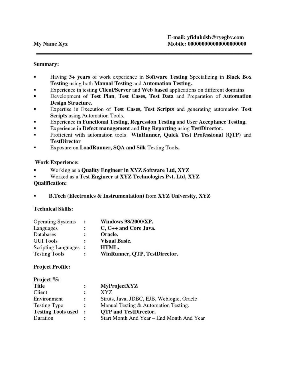 Mobile Application Testing Sample Resume