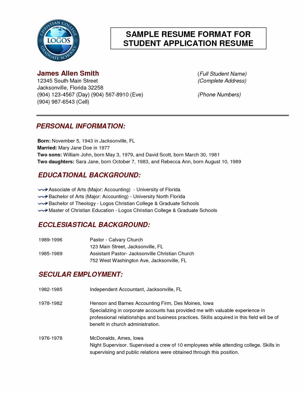 Normal Resume Format Download