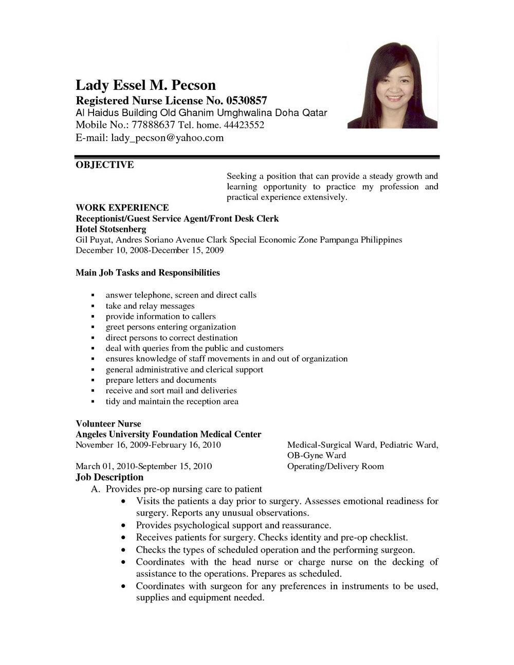 Nursing Job Application Letter