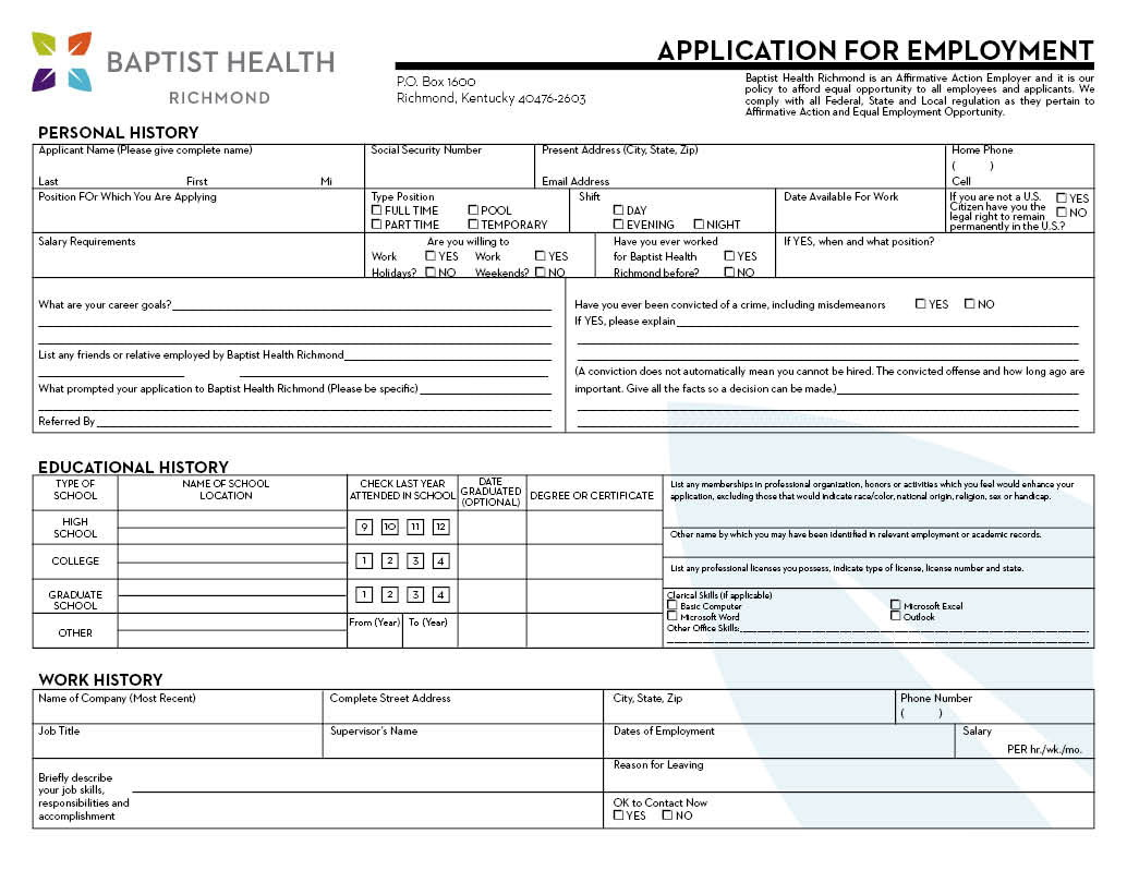 Nursing Job Application