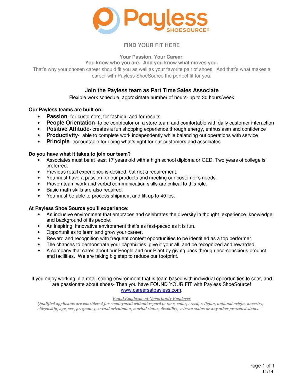 Payless Jobs Application Online