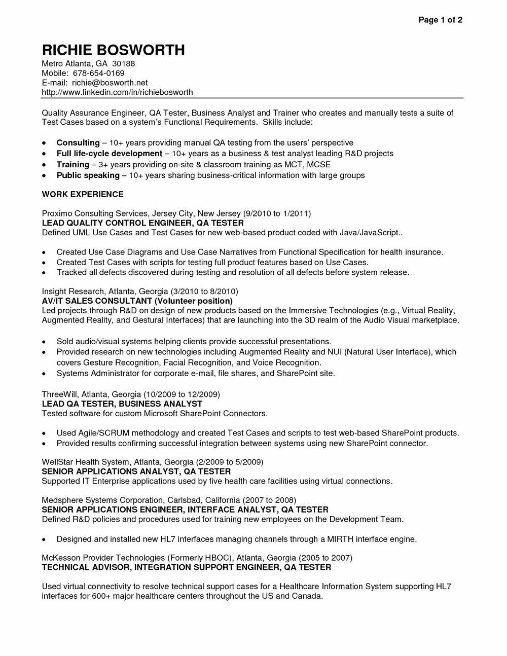 Qa Software Tester Resume Sample