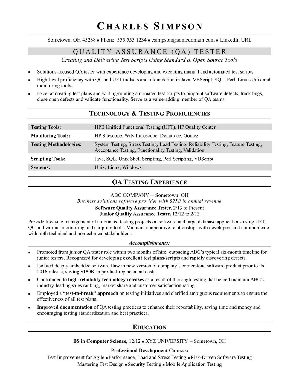 Qa Software Tester Resume