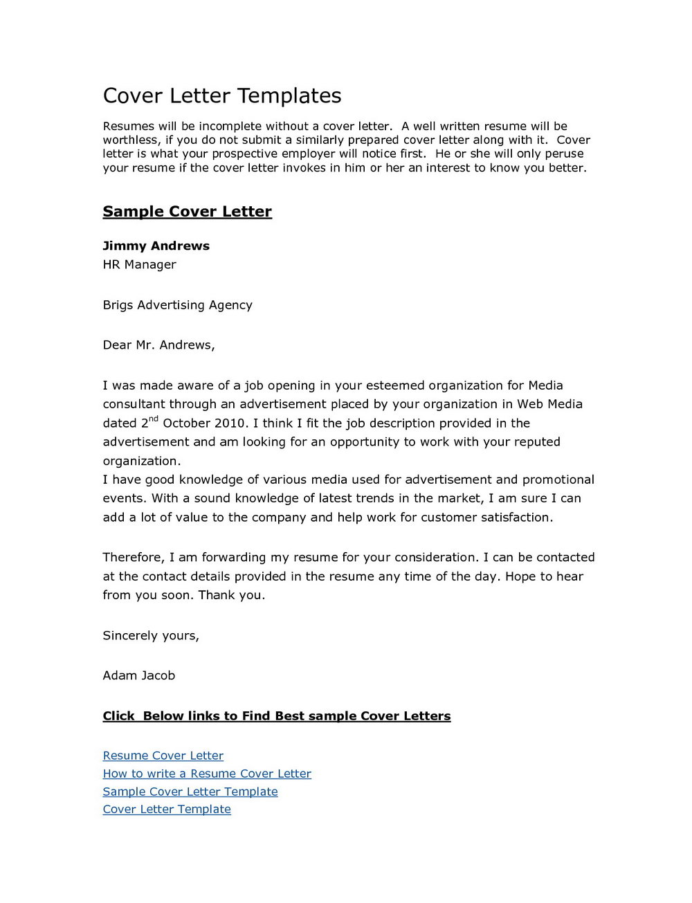 Resume And Cover Letter Templates Free