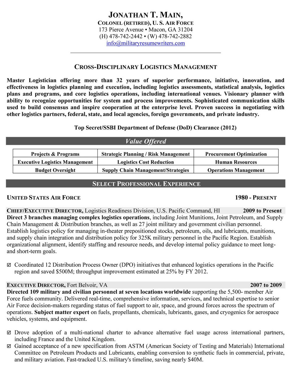 Resume Builder For Veterans