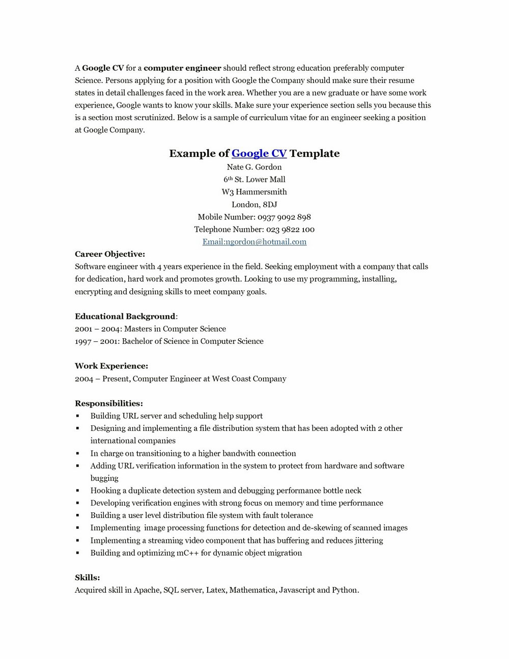 Resume Cover Letter Templates Free Download