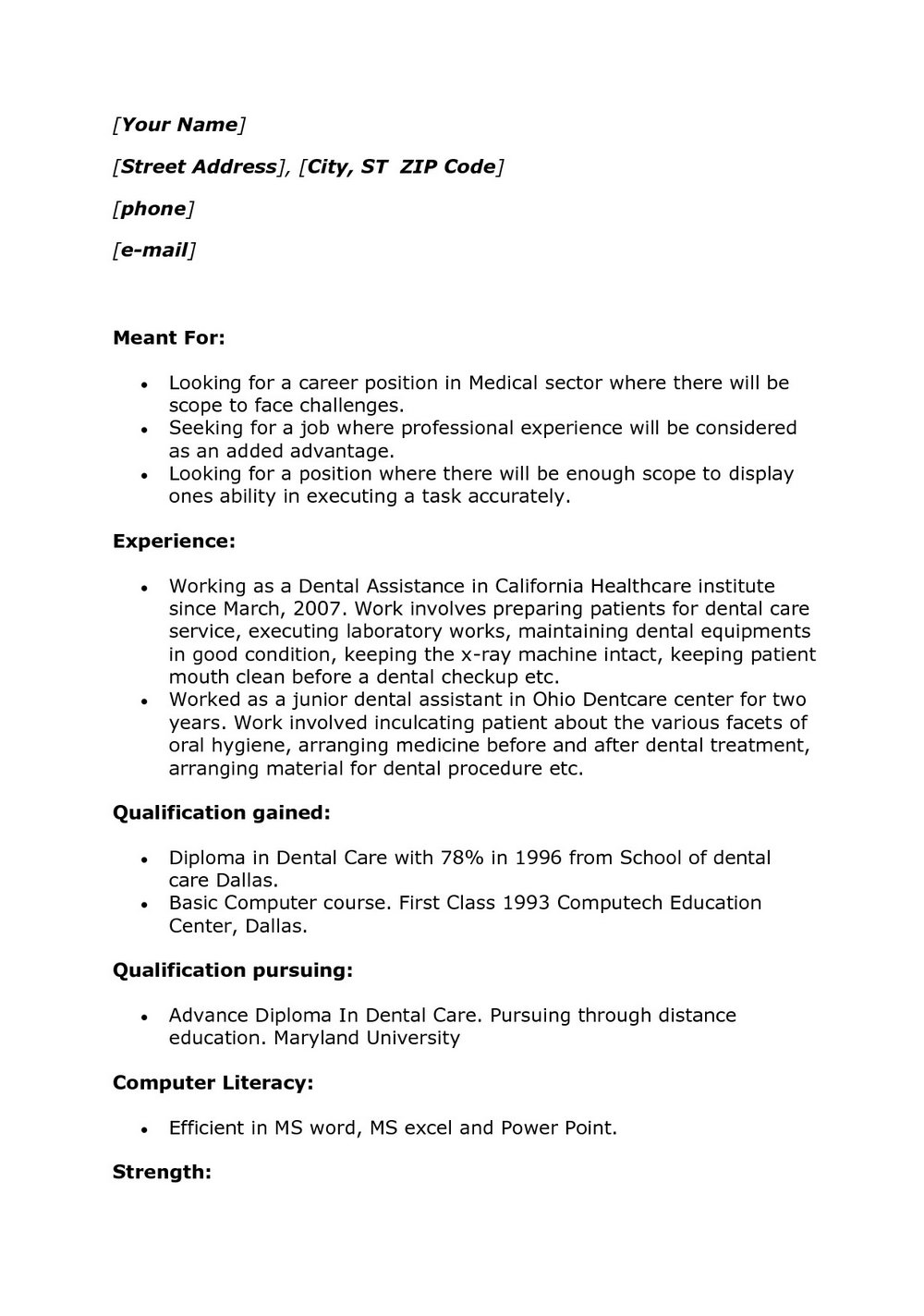 Resume For Dentist Job In India