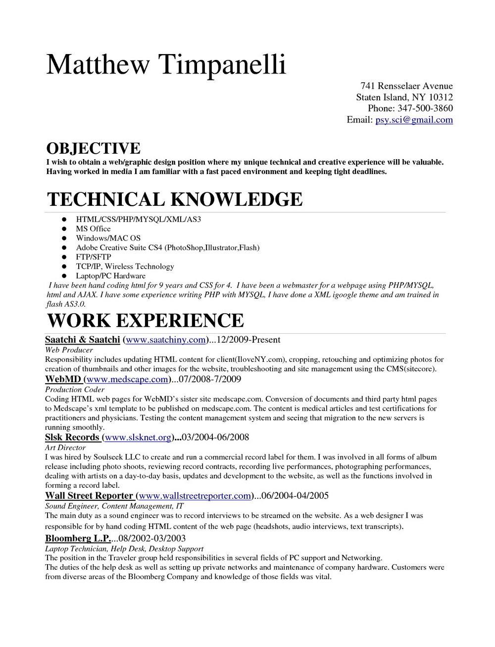 Resume For Medical Coder Fresher