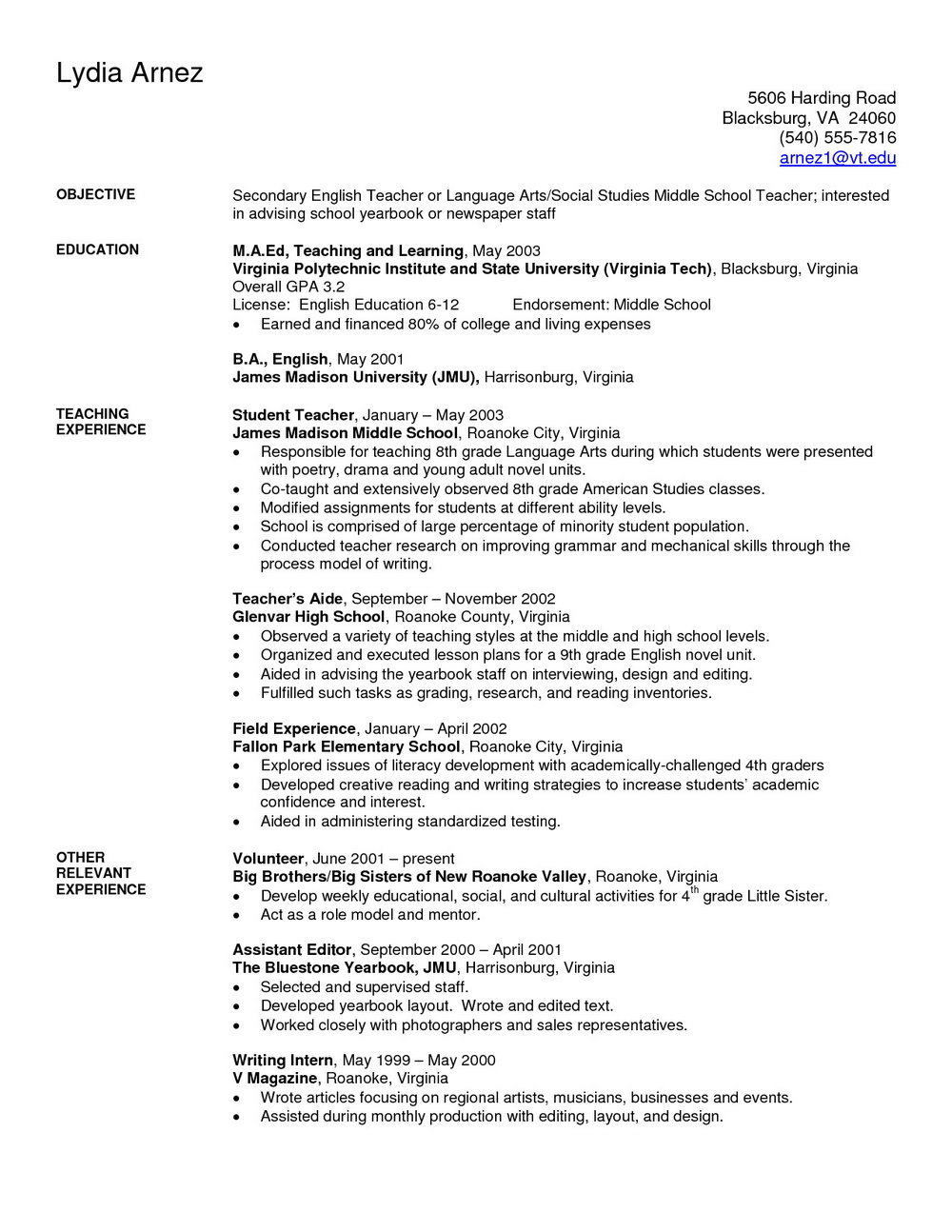 Resume For Teachers Templates Doc