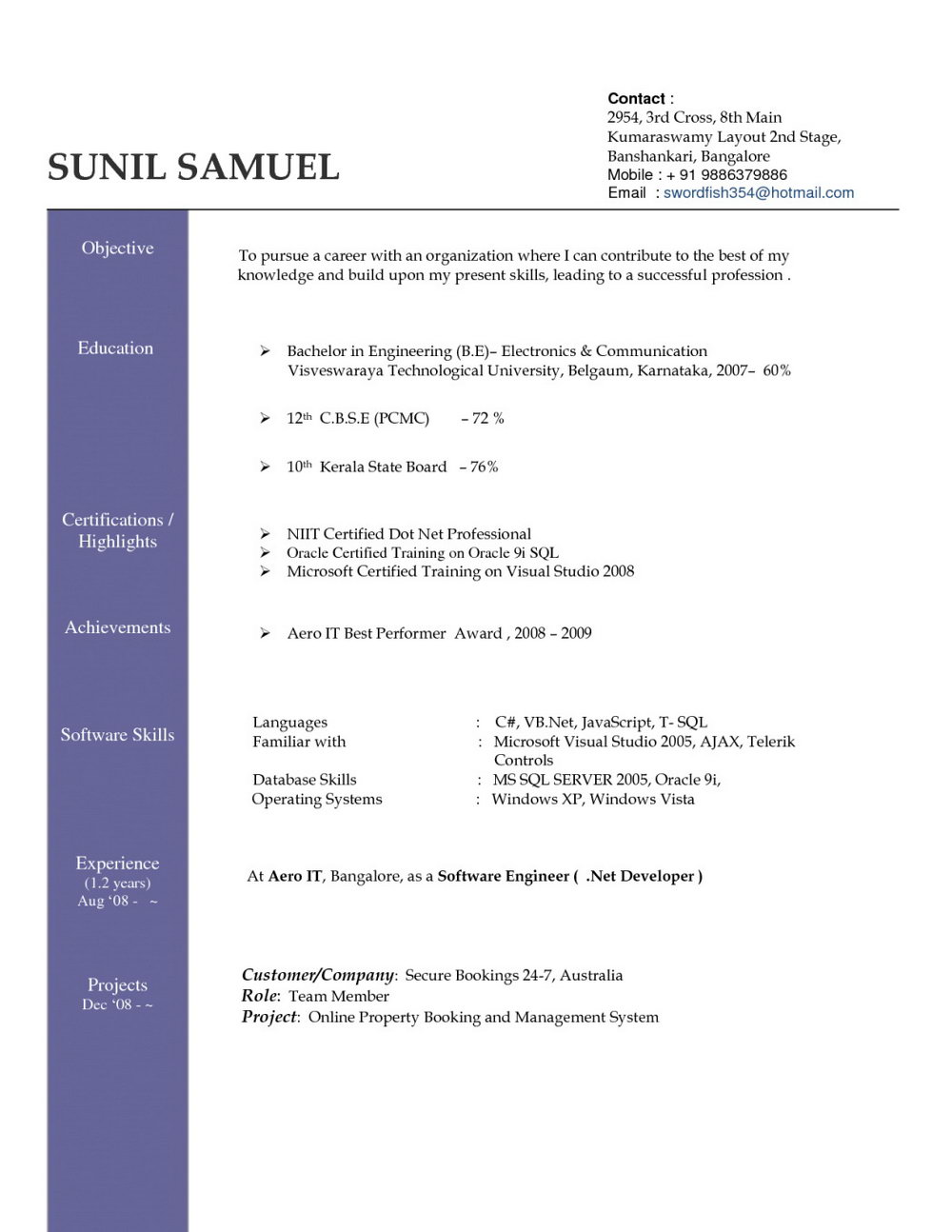 Resume Format Doc File Free Download