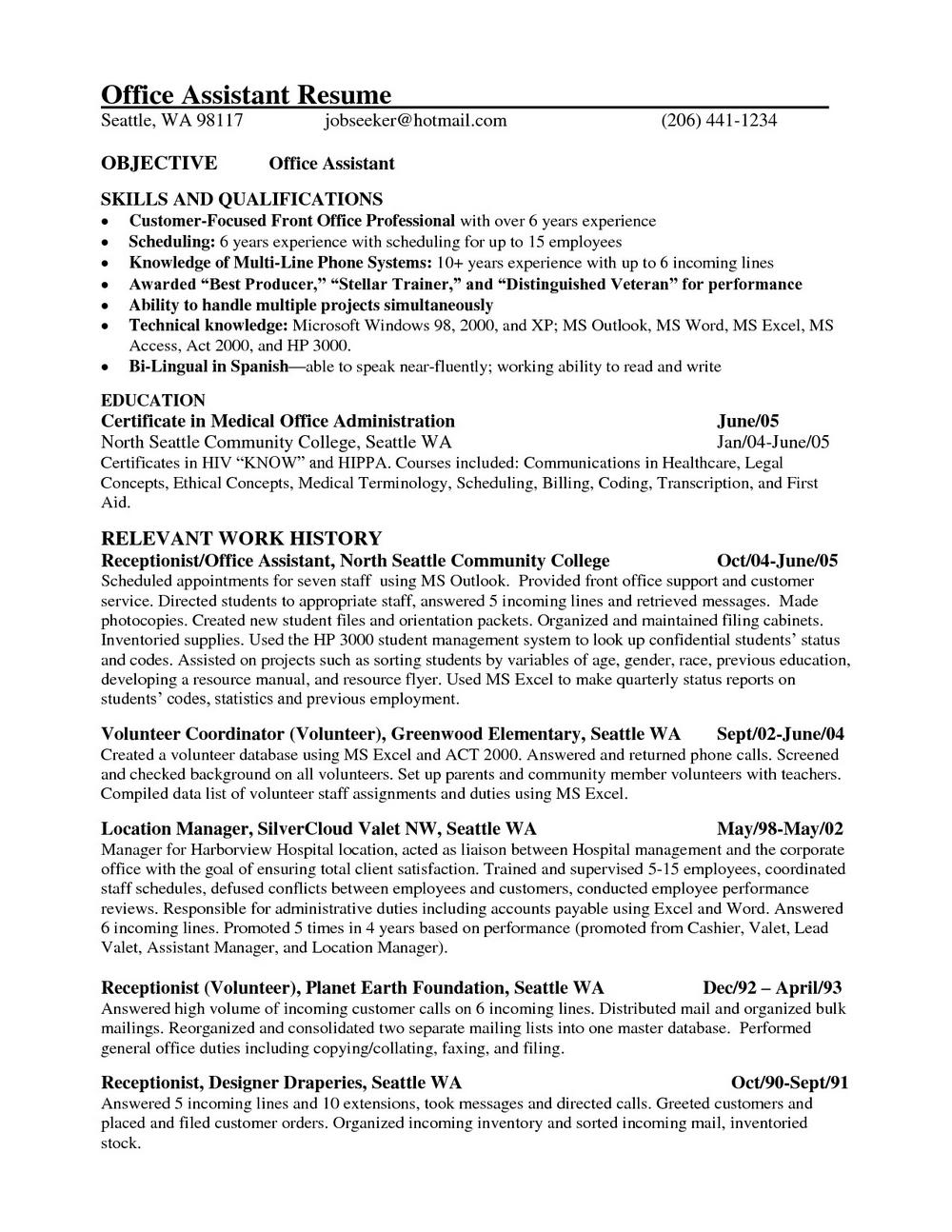Resume Samples For Medical Office Assistant