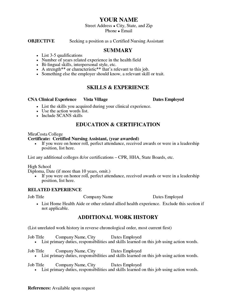 Resume Template For Nursing Assistant