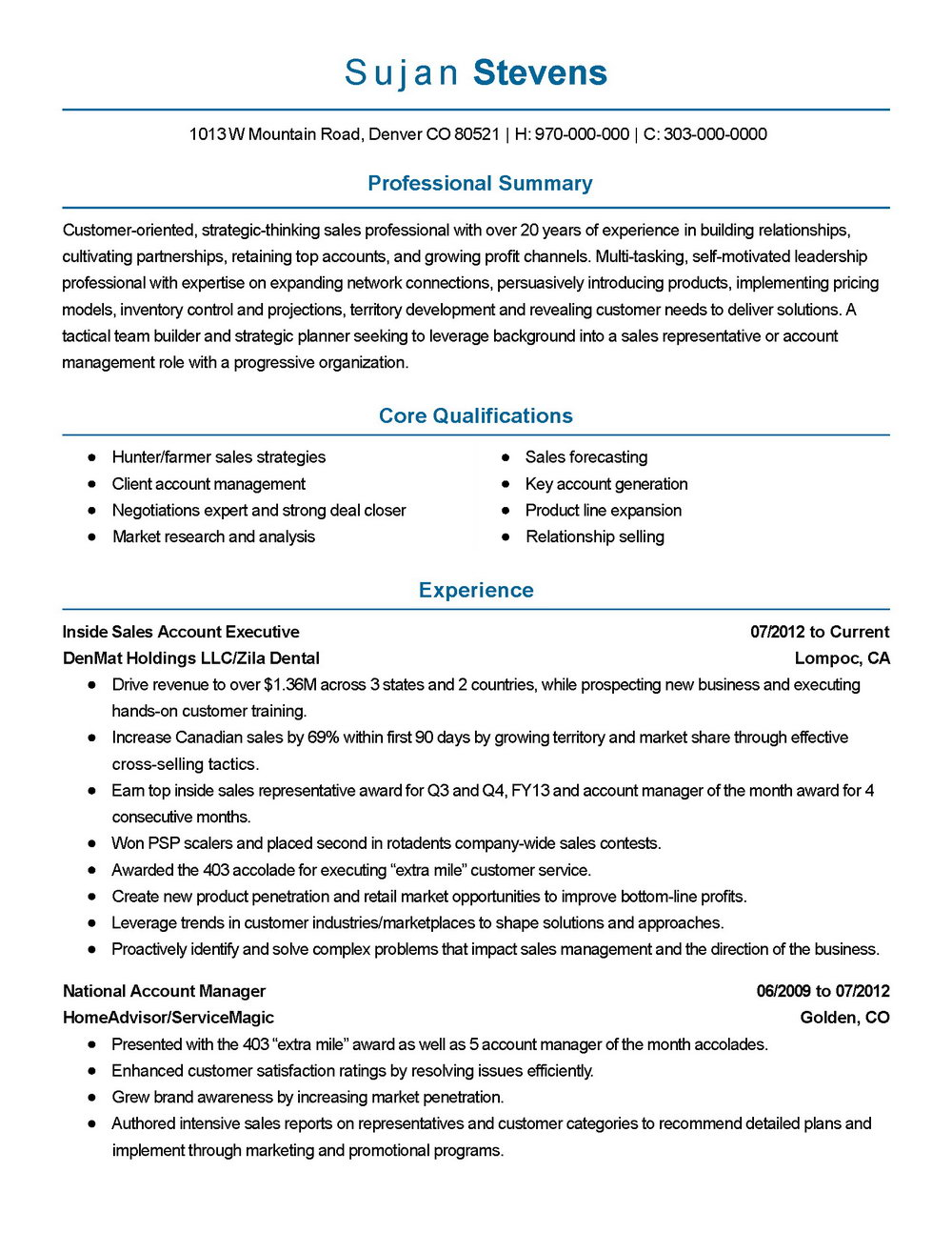 Resume Templates For Sales Executive