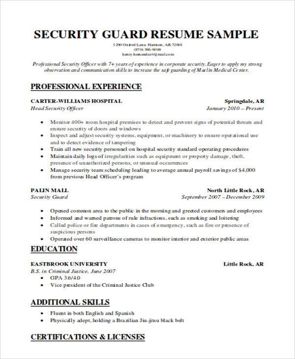 Sample Of Resume For Security Guard