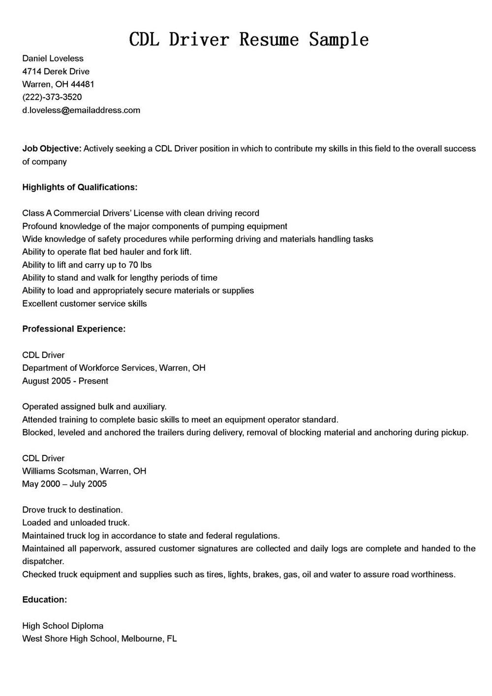 Sample Resume For Cdl Truck Drivers