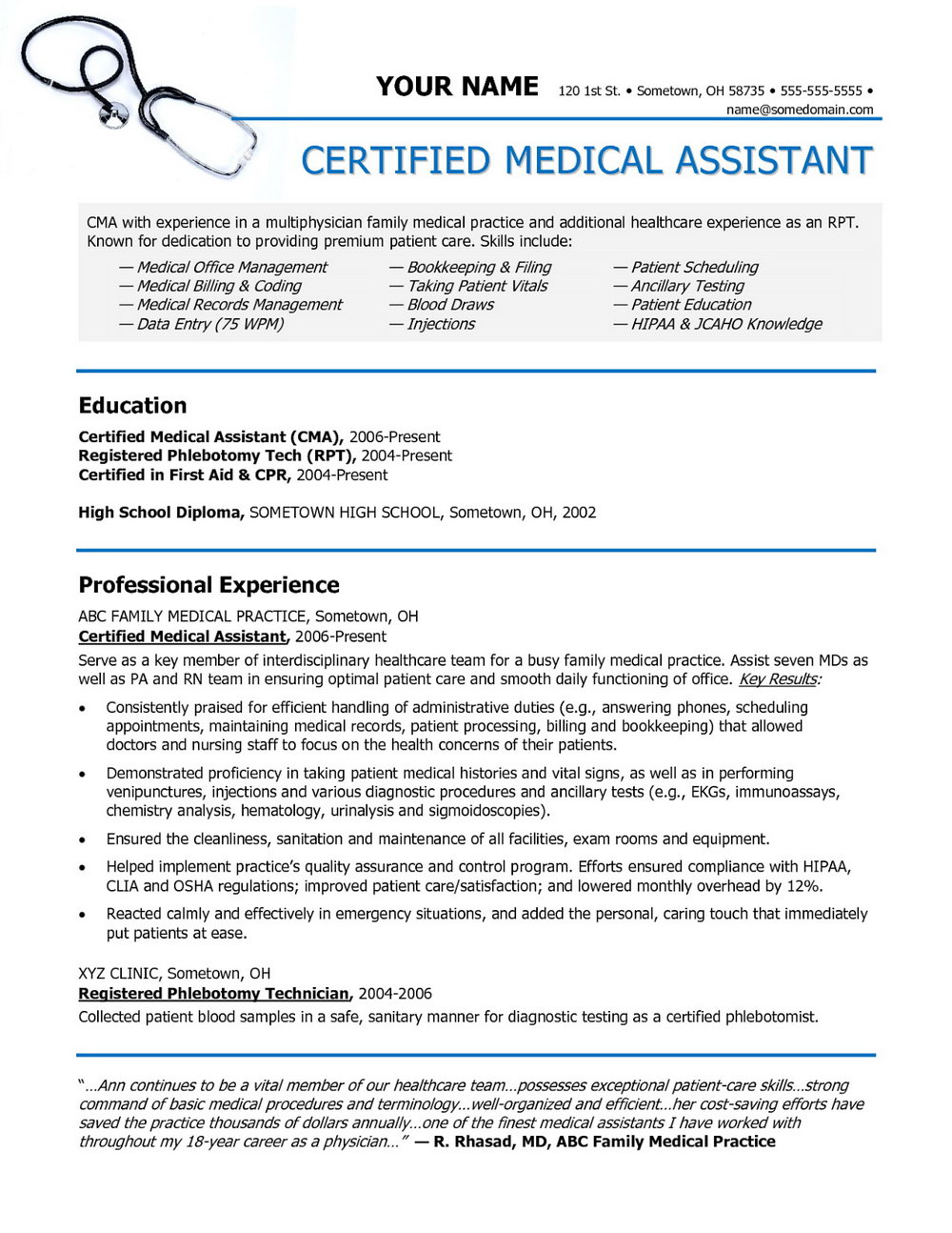 Samples Of Resumes For Medical Assistant
