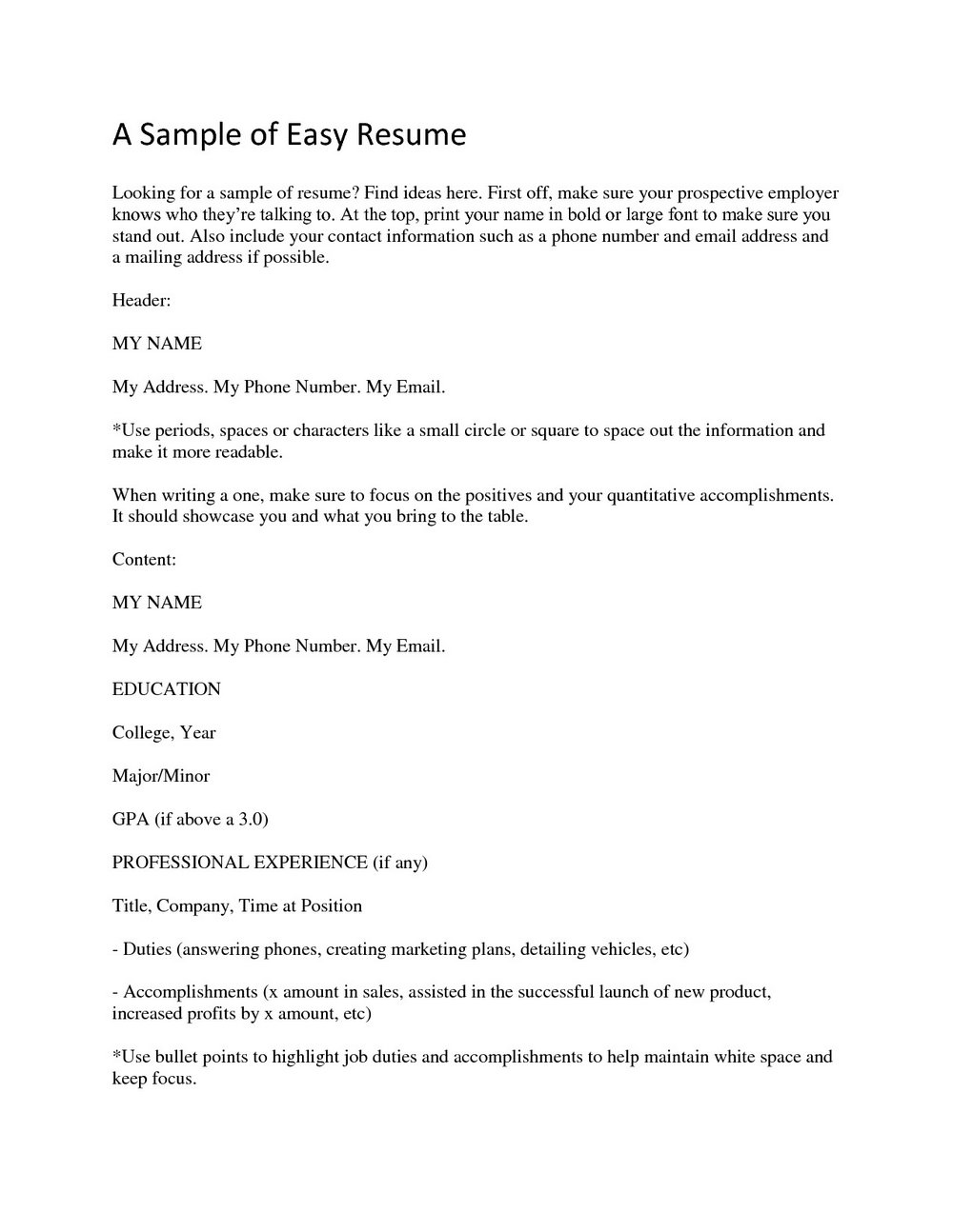 Simple Job Resume Format For Freshers