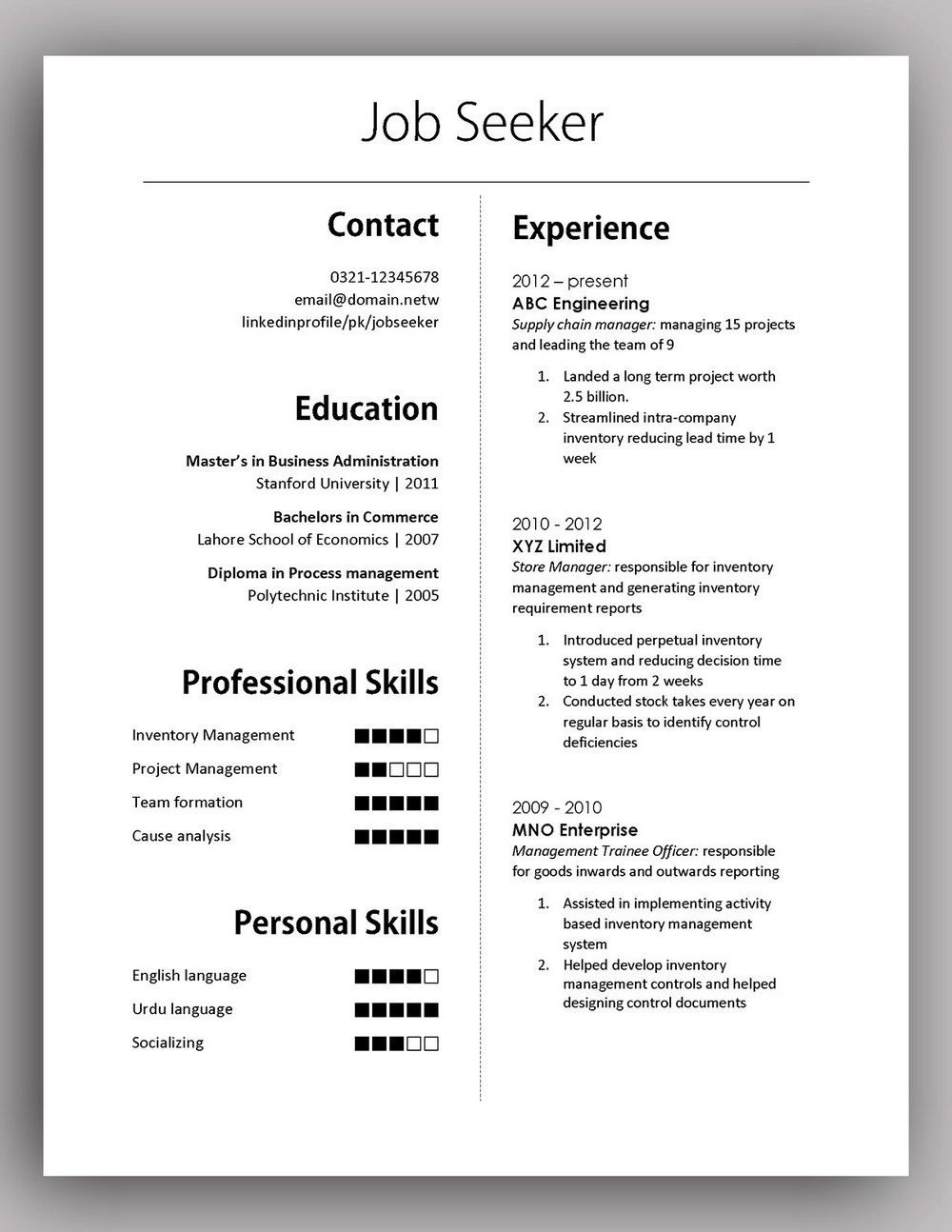 Simple Resume Format Download In Ms Word 2007