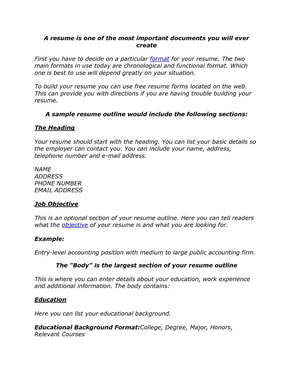 Simple Resume Format For Job Download