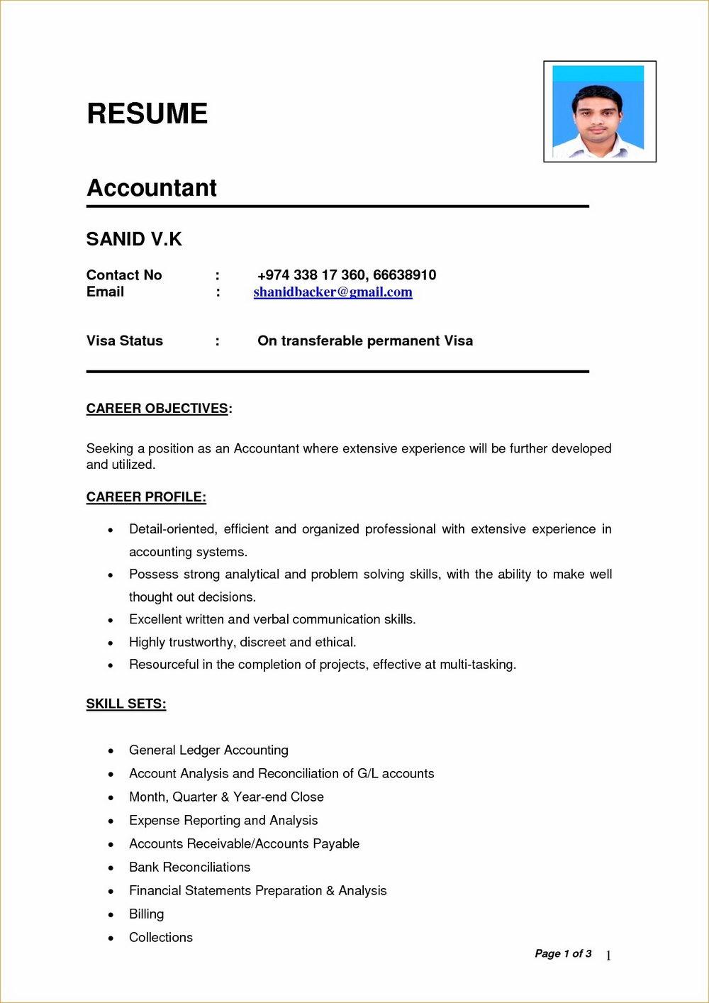 Simple Resume Format In Ms Word