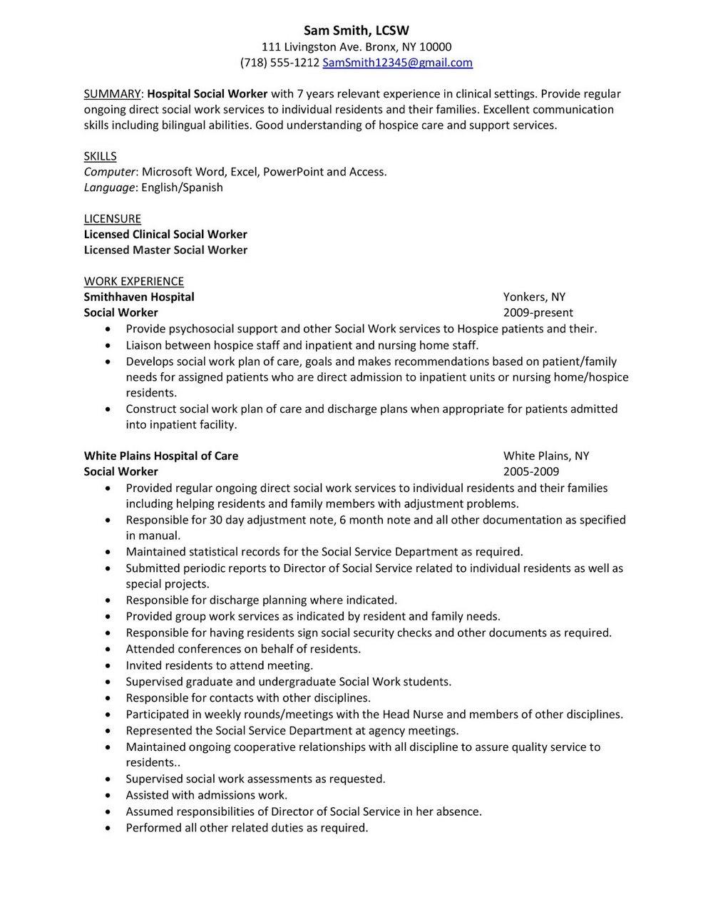 Social Work Resume Templates Free