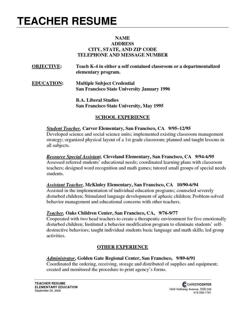 Student Resume Templates Free