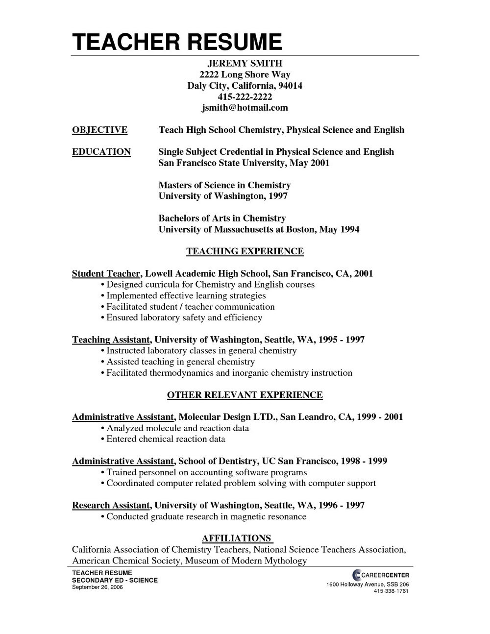 Teacher Resume Writing Service