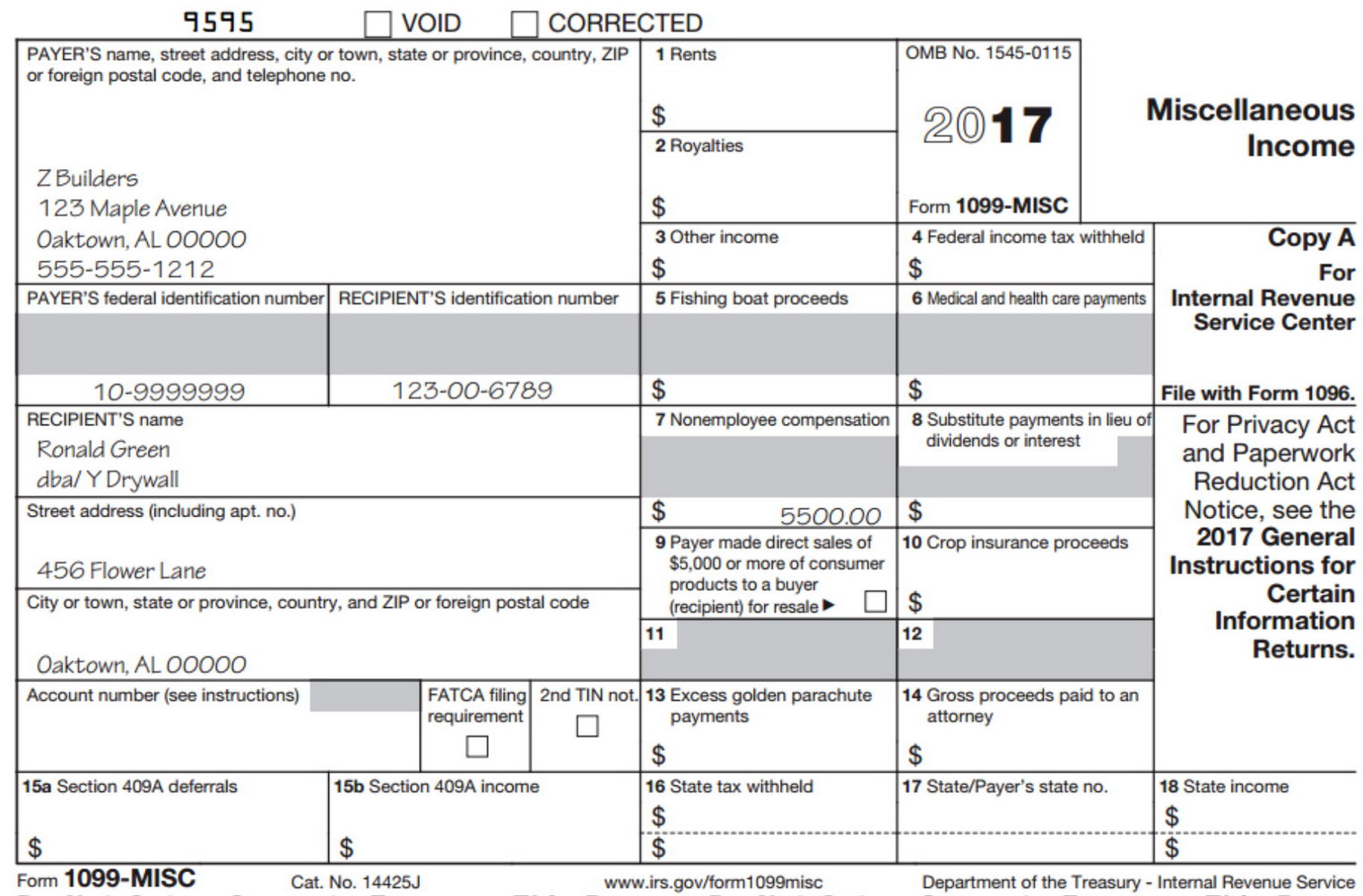1099 Contractor Form 2017