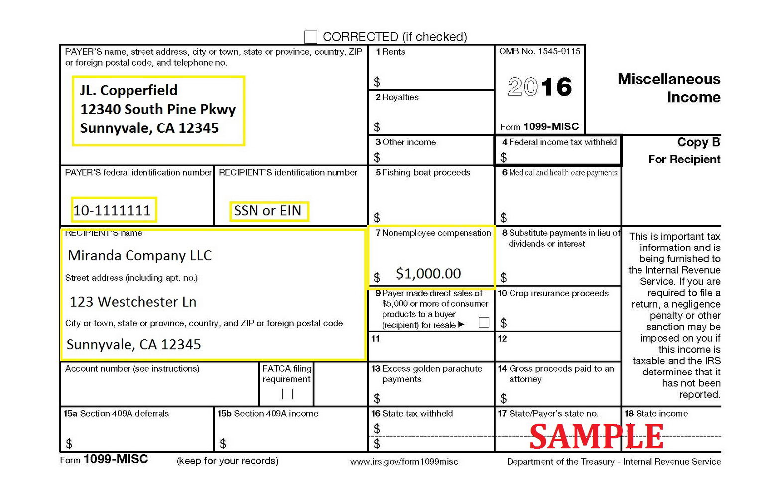 1099 Misc Form 2016