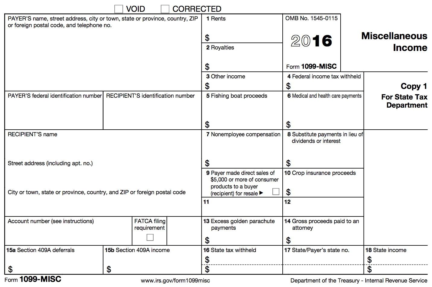 Blank 1099 Form 2016 Printable