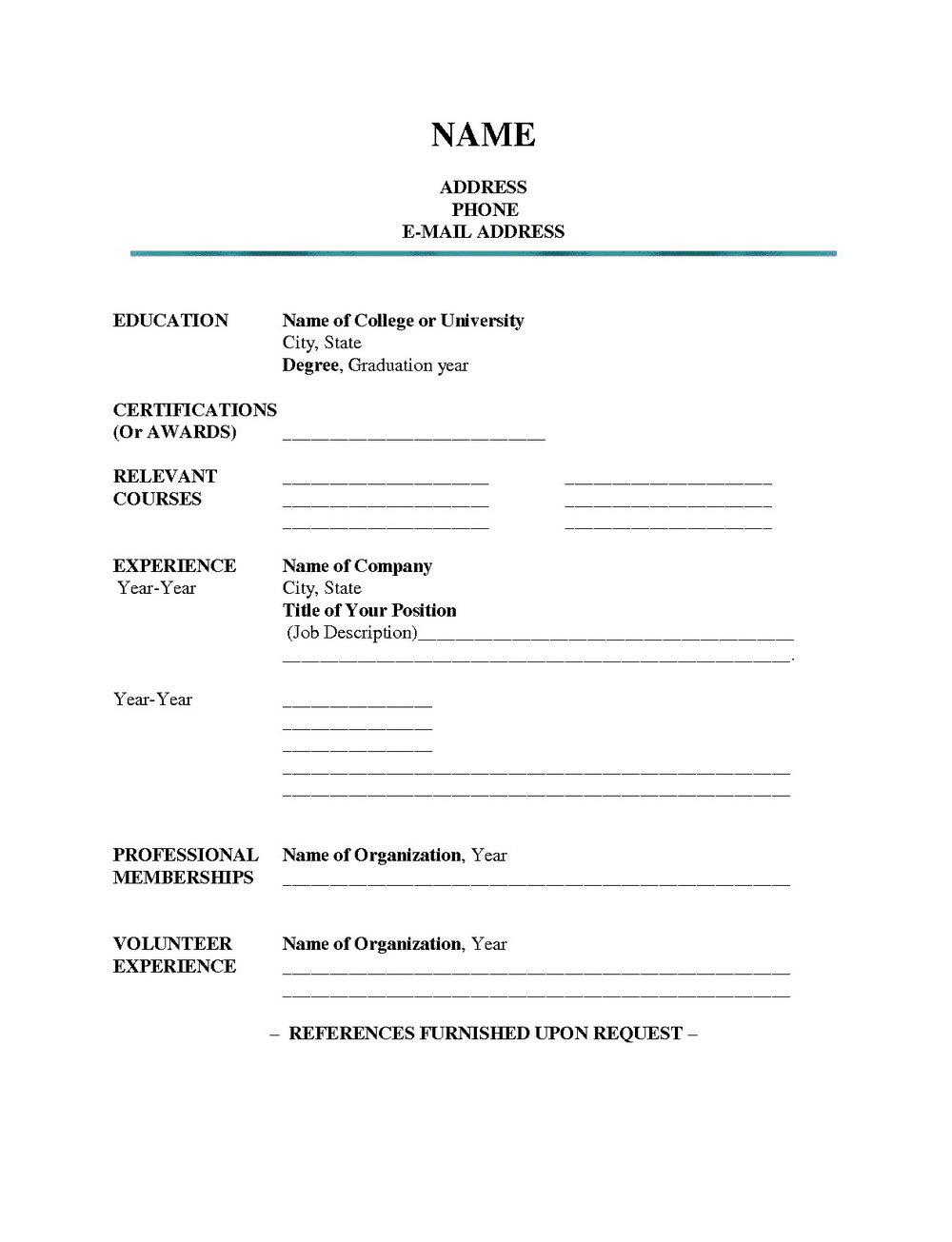 Blank Resume Form Pdf Download