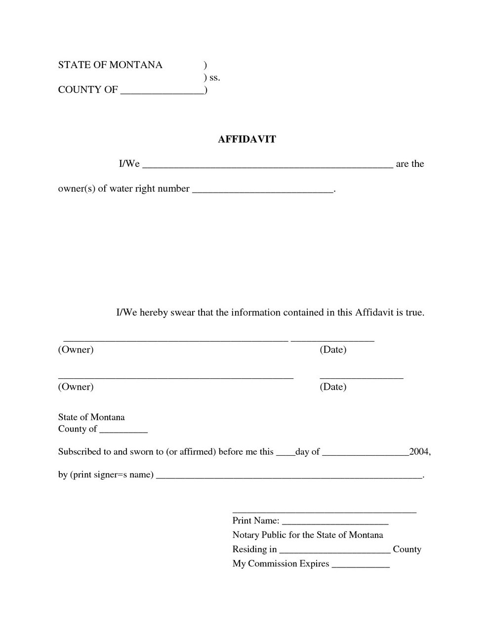 Blank Sworn Affidavit Form