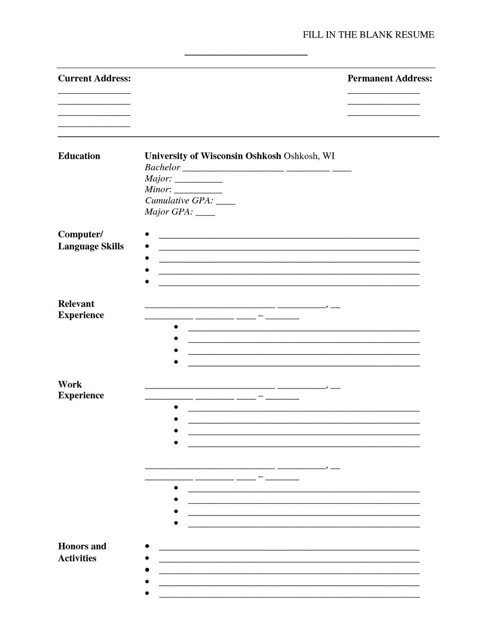Blank Template For Resume