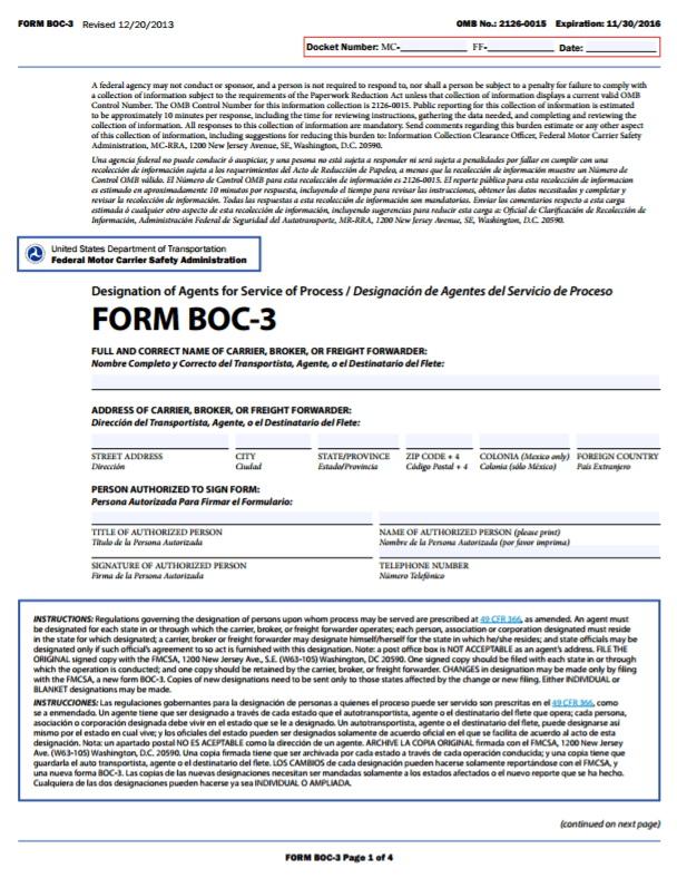 Boc 3 Form Trucking