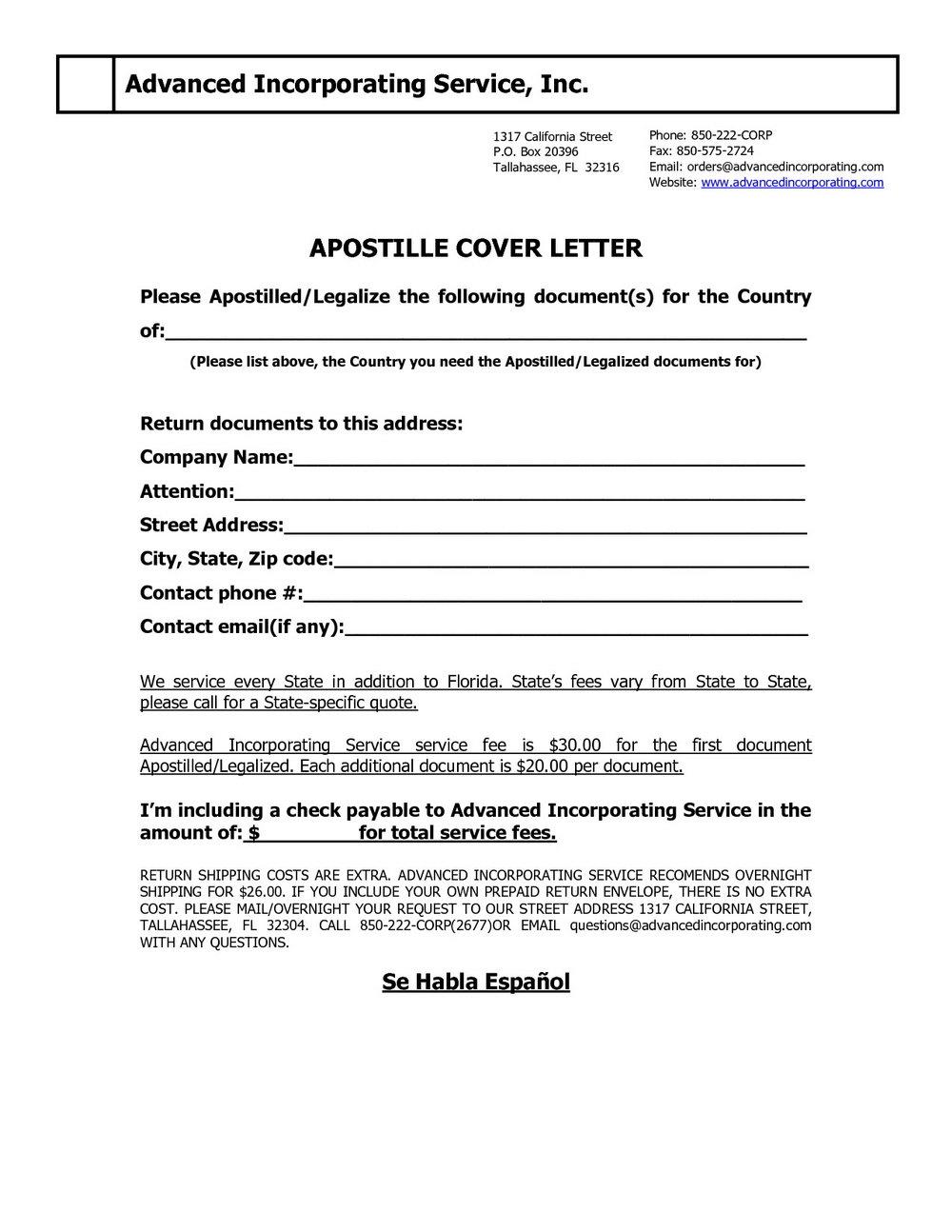 California Apostille Cover Letter