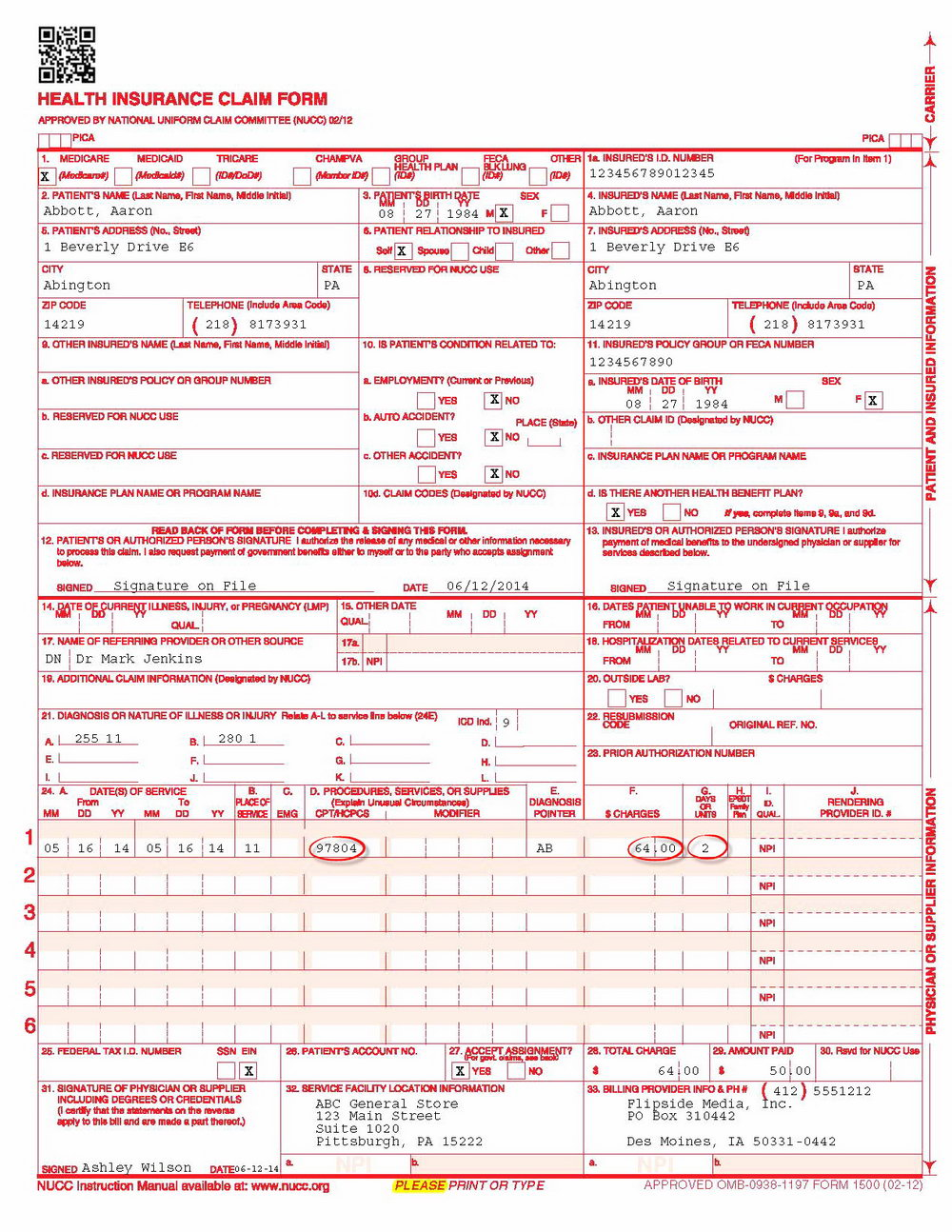 Cms 1500 Form Instructions 2015