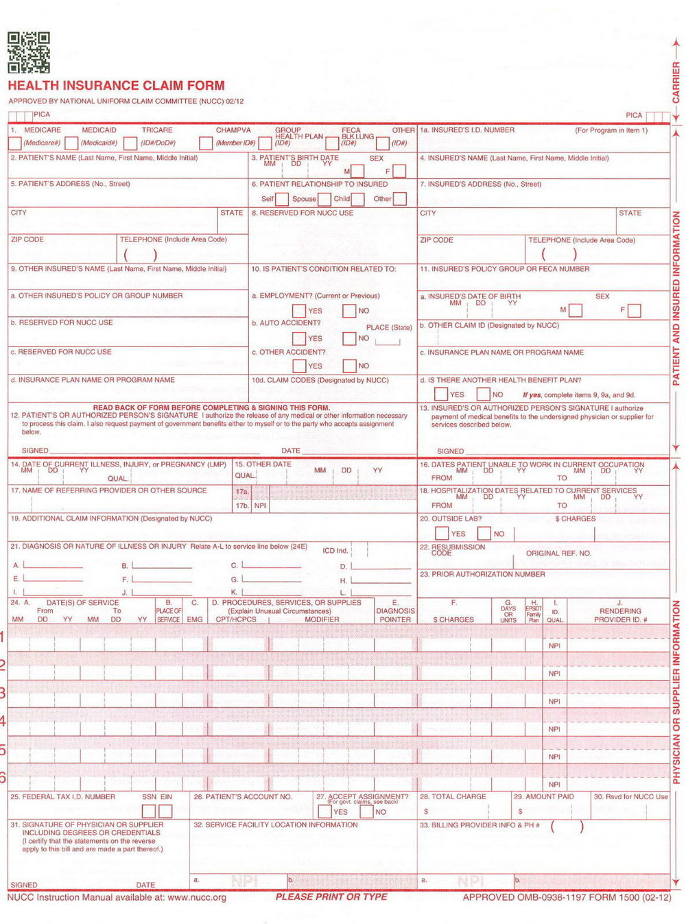 Cms 1500 Form Instructions 2017
