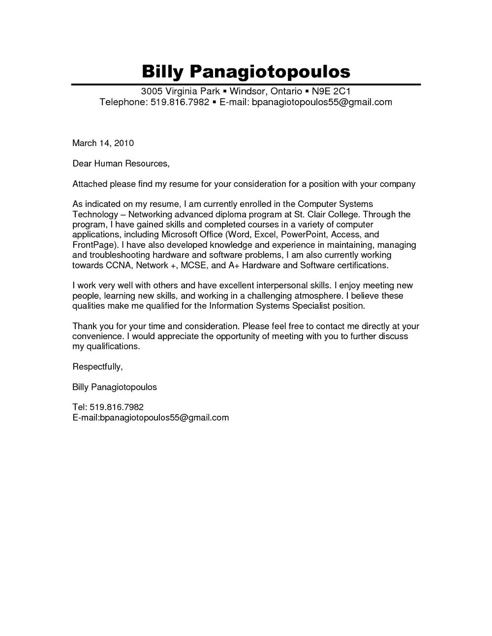 Cover Letter For Apostille Example