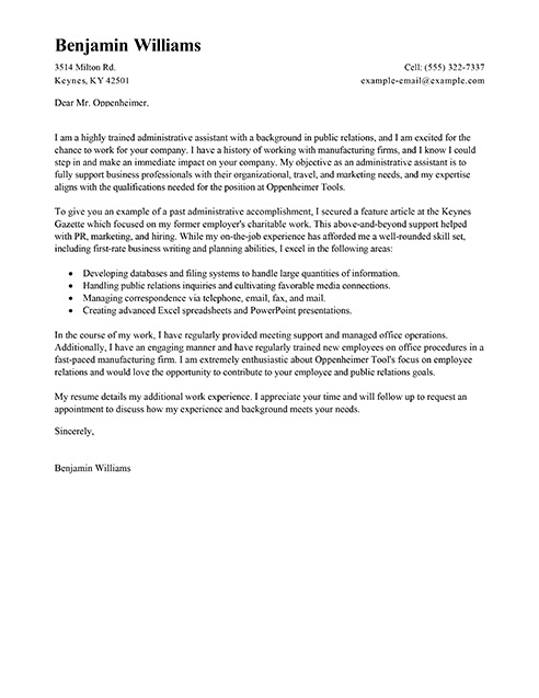 Administrative Assistant Cover Letter Cover Letter Sample Admini