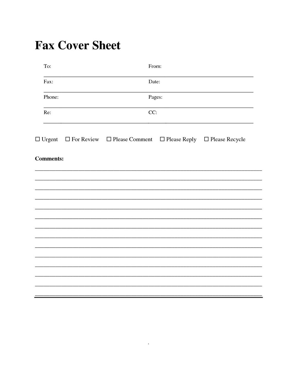 Fax Cover Letter Template Printable